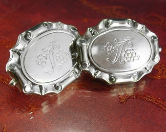 LARGE silver flower cuff links Vintage Cufflinks Victorian serving tray design Etched silver Business suit accessory  Wedding groom jewelry