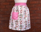Vtg Apron with Little House Print and Pink Accents