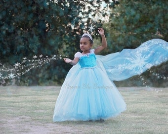 Disney Inspired Frozen Princess Queen Elsa Tutu Dress. rozen Movie. Blue Elsa Dress Birthday, Costume, Princess Party