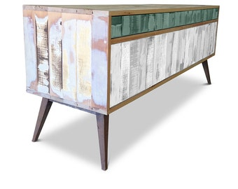 Retro Modern Mid Century Industrial Recycled Shabby Chic Country Farmhouse Sideboard / Buffet / Entertainment Unit - Green & White