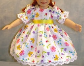10 Inch Doll Clothes - Yellow Butterflies Floral Dress made by Jane Ellen to fit 10 inch dolls