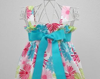 Toddler Girls Zadee Dress Floral Print Summer Dress Beach Dress Sundress for Little Girls Hot Pink Aqua Toddler Dress