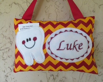 Tooth Fairy Pillow Garnet and Gold, Crimson and Gold Chevron