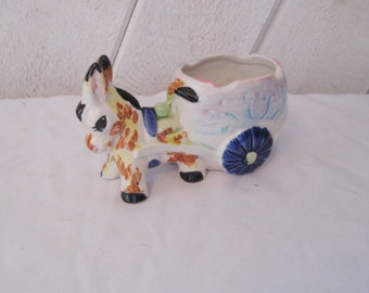 Colorful Mexican planter, donkey pulling cart, kitsch decor, Mexican pottery, air fern planter, southwest decor, indoor planter