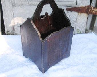 Vintage wood magazine rack, magazine holder/stand, brown wooden victorian stand