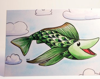 Greetings card Petit Poisson fish, for holidays and special occasion, envelope included
