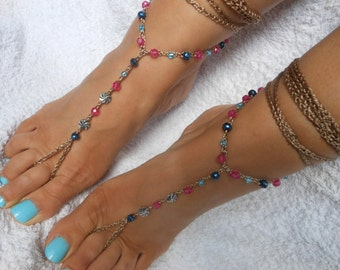 Crochet Barefoot Sandals Beach Wedding  Yoga Shoes Foot Jewelry Blue Pink Silver