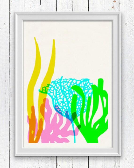 Bright colors Ocean Kelp Seaweed  - sea life print - Marine  sea life illustration A4 print SPC072