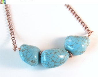 Turquoise Magnesite Nugget Bead Necklace Bohemian Jewelry