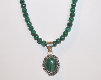 Malachite Necklace, Malachite Necklace with Malachite Pendant,  Malachite Necklace with Sterling Silver Malachite Pendant