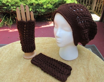 Crocheted Hat and Gloves Set / Brown / Dark Brown / Slouchy Hat / Beret