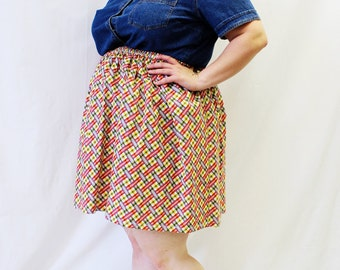Plus Size - Modern Vintage Plaid Cotton Woven Full Swing Skirt (Size 1X-3X)