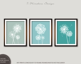 Dandelion Wall Art Prints, Seafoam, Rain and Teal Flower Art, Bedroom Bathroom Floral Art Set of (3) 5x7, 8x10 or 11x14, Home Decor UNFRAMED