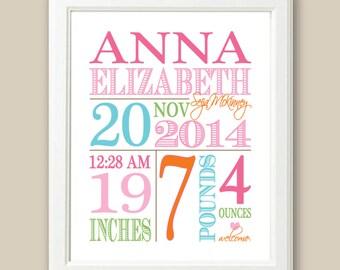 "Baby Birth Stats Girls Personalized Newborn, Custom Nursery Wall Art - Pink, Blue, Lime, Orange // 8"" x 10"" OR 11 x 14"" // Baby Nursery Gift"