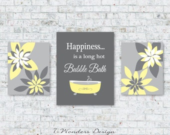 Modern Bathroom Art Prints Happiness Is A Long Hot Bubble Bath // Yellow,  Gray Part 85