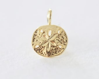 Vermeil Gold Small Sand Dollar Charm Pendant 10 - 18k gold plated over sterling silver, nautical sea life charm