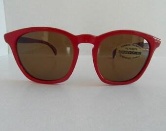 Vintage Cherry Red & Crimson Red Square Frame Sunglasses