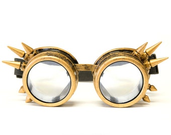 ON SALE GloFX Brass Spike Steampunk Goggles Rave Welding Cyber Punk Goth Dieselpunk Glasses