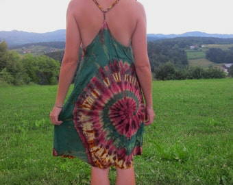 green tie dye summer dress, medium, large