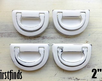5 Swing Handles Horse Shoe White Shabby Chic Dresser Drawer Pulls Metal Painted Furniture Hardware Cabinet 2 inch DETAILS BELOW
