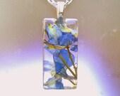 Real Larkspur Large Rectangle Glass Pendant Necklace