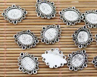 90pcs tibetan silver tone little cameo cabochon settings EF1577