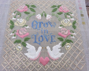 """Grow in Love - Completed embroidery - 12""""x12"""""""