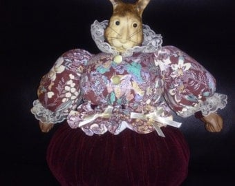Vintage Porcelain and Cloth Bunny