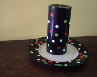 Cherries and Polka Dots  6 inch Pillar Candle and Plate