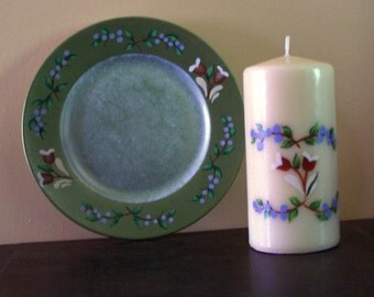 Tole Design  6 inch Pillar Candle and Plate