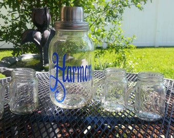 Monogrammed Mason Jar Cocktail Shaker with shot glasses - Personalized with last name - wedding gift - Mason Jar Gift
