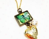 Romantic jewelry- Heart Locket necklace- butterfly necklace- keepsake necklace- locket jewelry-gift for her- romantic locket-