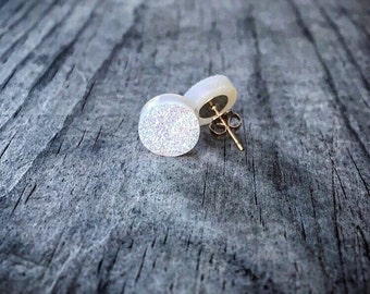 White Stardust Druzy Quartz Stud Earrings / Mini Druzzy Studs / Genuine Drusy / 14k Gold Fill / Sterling Silver / Minimalist Modern Bridal