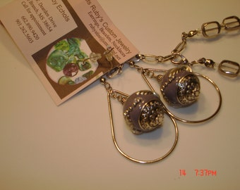 Purple pewter and silver necklace set
