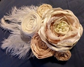 wedding hair piece clip elegant fabric flower ivory cream taupe pearl feather bridal veil photo prop couture flower girl hair fascinator