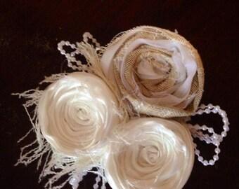 vintage wedding flower hair piece beige cream ivory pearls beads photo prop easter hair clip fabric flower children newborn flower girl