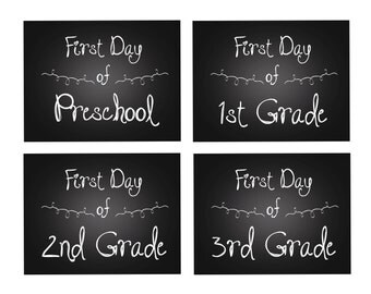 First Day of School Sign - Black Chalkboard White Chalk Curly Font - Preschool thru 12th - Digital Printable Art Print - Instant Download