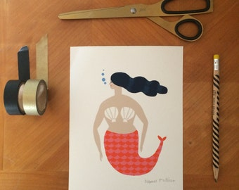 Mermaid A5 Limited edition signed print