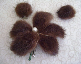 Vintage Circa 50's Mink Flower Brooch with Matching Puff Ball Earrings