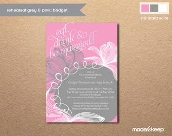 W334 Floral Pink & Gray Rehearsal Dinner Invitation
