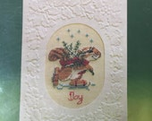 Vintage Squirrel  Counted Cross Stitch Christmas Card Kit Current Critters Fiddlesticks