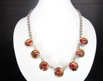 Encased Lucite Necklace Tiny Rosebuds & Silver 925 Size Small
