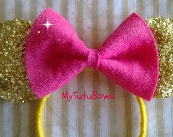 Minnie Mouse Ears Headband Yellow Golden Ears with Big Hot Pink Bow Fits Adults and Children Glitter Sparkle Sequin