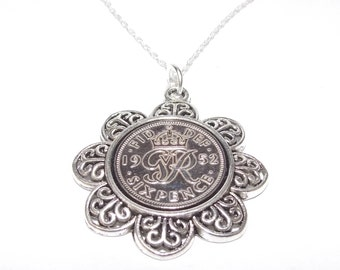 Floral Pendant 1952 Lucky sixpence 65th Birthday plus a Sterling Silver 18in Chain