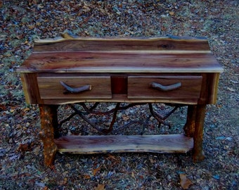 Rustic Walnut Wood Console Sofa Table with mountain laurel adirondack base 2 drawers and a shelf Log Cabin Furniture FREES SHIPPING