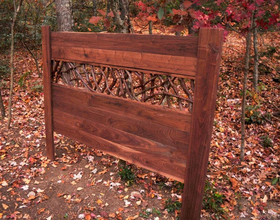 Rustic Bed Walnut Headboard Laurel Twig Log Cabin Cottage Bedroom Furniture by Jason Wade
