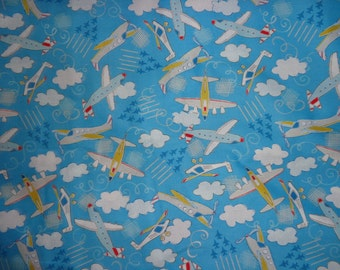 32 Inches Sky Blue Airplane Cotton Fabric