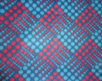2.5 Yards Blue/Red Dot Fleece Fabric
