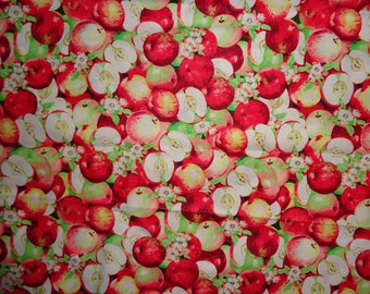 Red/Green Apple Fabric by the Half Yard