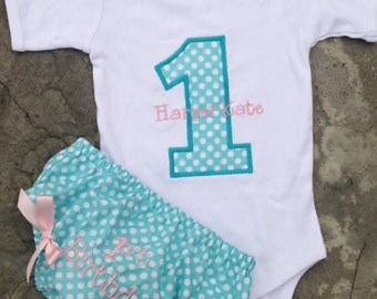 Monogram baby first birthday outfit girls onesie and diaper cover light pink and aqua blue